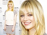 Natural beauty! Emma Stone glowed in grey and ivory frock while promoting new Revlon Nearly Naked make-up line in NYC