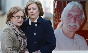 David James' (inset) wife and daughter (left) do not want his hospital treatment to be withdrawn