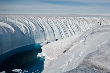 Meltwater canyon in ice sheet