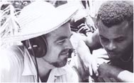Alan Lomax recording in La Plaine, Dominica, July 26, 1962. Photo courtesy of Association for Cultural Equity.