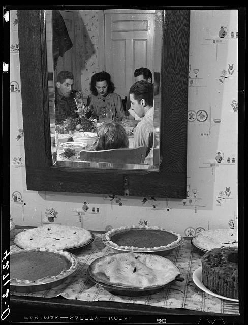 Pumpkin pies and Thanksgiving dinner at the home of Mr. Timothy Levy Crouch, a Rogerine Quaker living in Ledyard, Connecticut