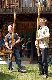 Dušan Holik and Bob Rychlik playing fujara