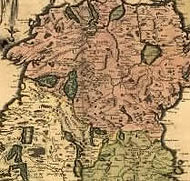 Image: 17th century map of Uslter, Leinster and Connaught, 1665