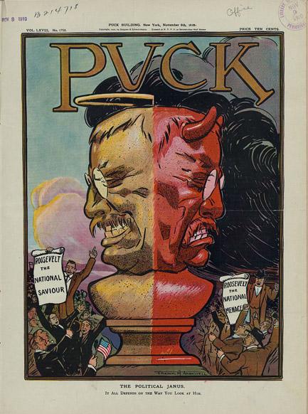 The political Janus. Offset photomechanical print by Frank A. Nankivell, 1910 November 9. http://hdl.loc.gov/loc.pnp/ppmsca.27682