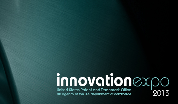 Innovation Expo title on a green and black background