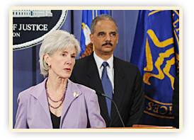 HHS Secretary Kathleen Sebelius and Attorney General Eric Holder make a joint announcement