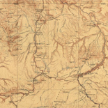 Topographical map of the Yellowstone National Park, Wyoming-Montana-Idaho.