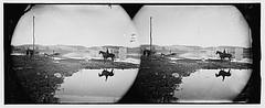 [Berlin (now Brunswick), Md. Pontoon bridge and ruins of the stone bridge across the Potomac (destroyed in 1861)] (LOC)
