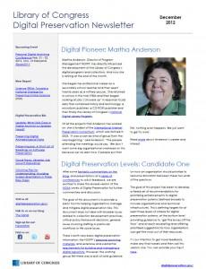 December 2012 Library of Congress Digital Preservation Newsletter