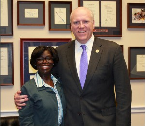 Representative Joseph Crowley with Library of Congress Teacher in Residence Earnestine Sweeting