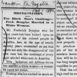 Newspaper reports of Frederick Douglass's marriage to Helen Pitts, 1884. Scrapbook.