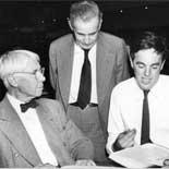 Photograph of Carl Sandburg, J.G. Randall and Alan Lomax, August 29, 1947