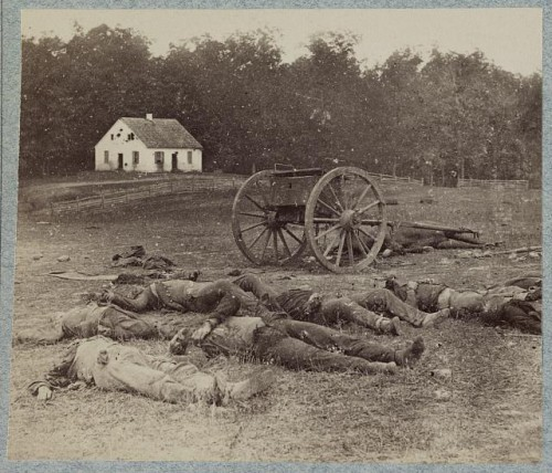 Bodies of Confederate artillerymen near Dunker church. Photo by Alexander Gardner, 1862, http://hdl.loc.gov/loc.pnp/ppmsca.32887