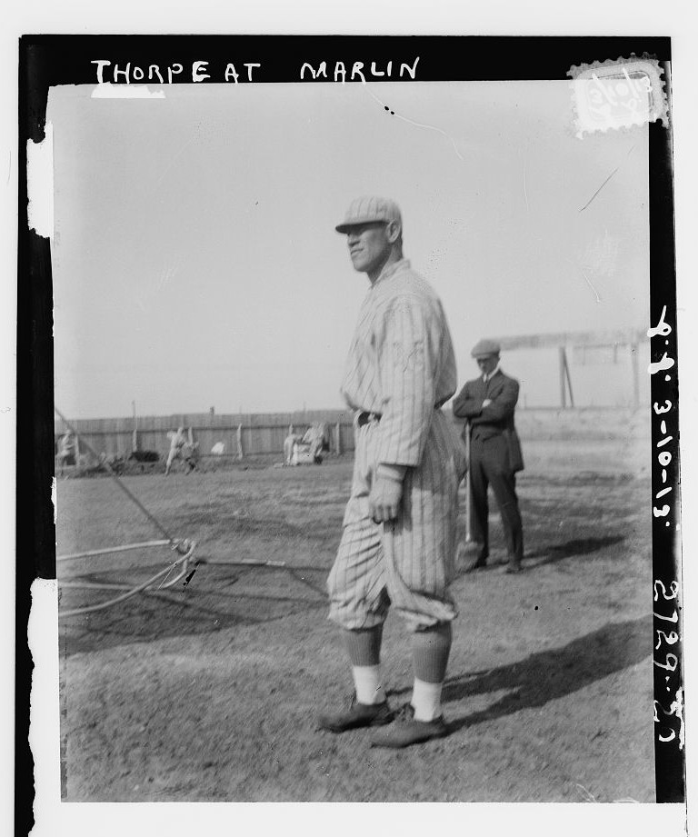 Jim Thorpe, New York NL, at Spring Training in Marlin Springs, Texas (Baseball). Photo published by Bain News Service, 1918. http://hdl.loc.gov/loc.pnp/ggbain.50300