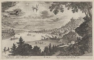 Print portrays the mythological story of Icarus showing him falling from the sky over a large river. Includes four lines of verse.