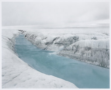 """[River 1, 7/2007, position 69 degrees 40' 12"""" north, 49 degrees 54' 28"""" west, altitude 70 m, Greenland ice cap melting area]"""