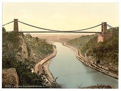 [Clifton suspension bridge from the cliffs, Bristol, England]  (LOC)