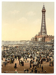 [The tower with beach, Blackpool, England]  (LOC)