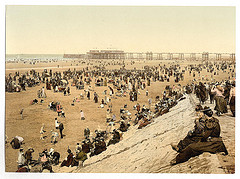 [The beach with North Pier, Blackpool, England]  (LOC)