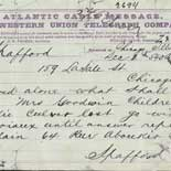 Telegram from Anna Spafford to Horatio Gates Spafford, December 2, 1873.