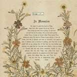In Memoriam card with Holy Land dried flowers, ca. 1888.