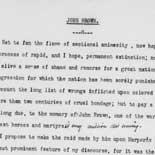 Frederick Douglass's tribute to John Brown, 1860. Typescript.