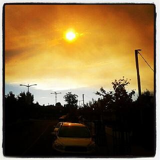 Bushfire Smoke Over Kingston, Tasmania