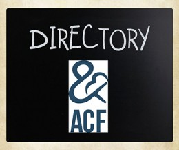 """ACF logo on chalkboard with the word """"Directory"""" above."""
