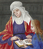 St. Anne teaching Mary to read: Illustration from Book of hours  (Ms. Library of Congress. Rosenwald ms. 10).