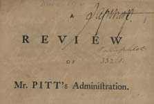 A Review of Mr. Pitt's Administration.