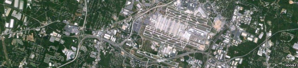 Satellite image of Atlanta airport