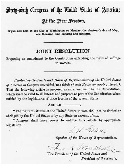 House Joint Resolution 1 proposing the 19th amendment to the states