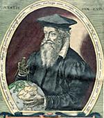 Portrait of Gerardus Mercator: Illustration from Mercator's Atlas sive Cosmographicae meditationes de fabrica mundi et fabricati figura.