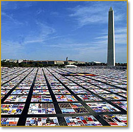 AIDS Quilt with Washington Monument