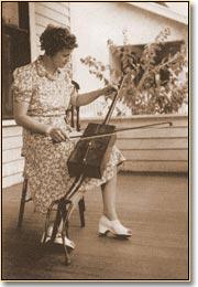 Musician playing a handmade instrument