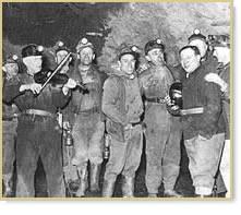 George Korson with miners, Nekirk Tunnel Mine 1946