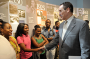 D.C. Mayor Vincent C. Gray visits GPO to promote the D.C. Summer Youth Employment Program. Mayor Gray and Public Printer Bill Boarman meet with the youths placed at GPO and tour GPO's 150th anniversary history exhibit.