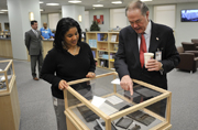 GPO's Bookstore Manager Donna Harding gives Public Printer Bill Boarman a tour of the agency's newly renovated bookstore.