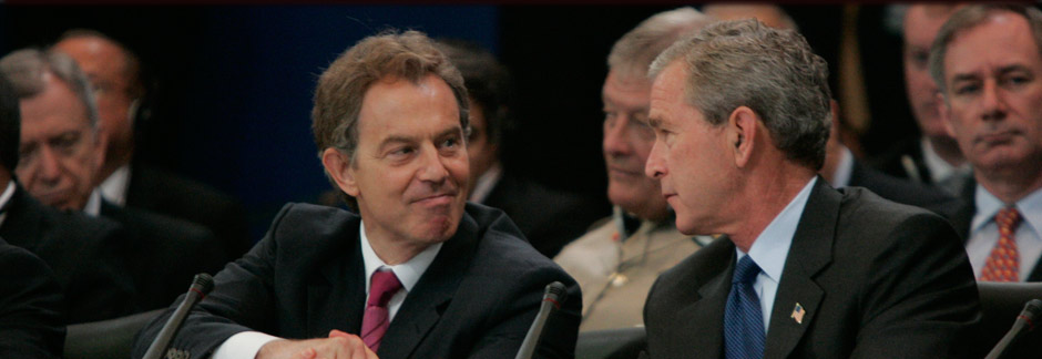 President George W. Bush and British Prime Minister Tony Blair shake hands at the NATO Summit in Istanbul, Turkey, June 28, 2004. (P41953-273)