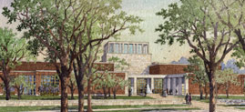 Library and Museum Approach Artist Rendering. Courtesy George W. Bush Foundation and Michael McCann for Robert A.M. Stern Architects, LLP.
