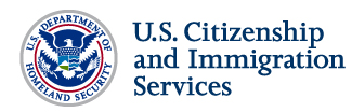 U.S. Department of Homeland Security Seal, U.S. Citizenship and Immigration Services Logo.