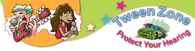 Banner for Tweenzone page. Illustrated image of tween rocker on a curve with stars