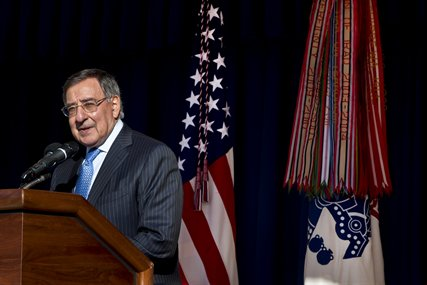 Defense Secretary Leon E. Panetta thanks the Pentagon staff at a farewell ceremony in the center courtyard at the Pentagon, Feb. 12, 2013. Panetta is stepping down as the 23rd defense secretary