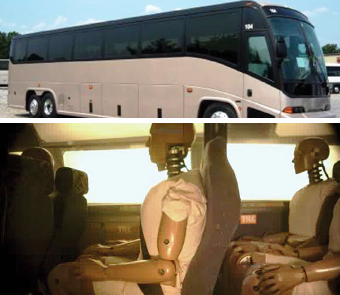 image of motorcoach and crash dummies