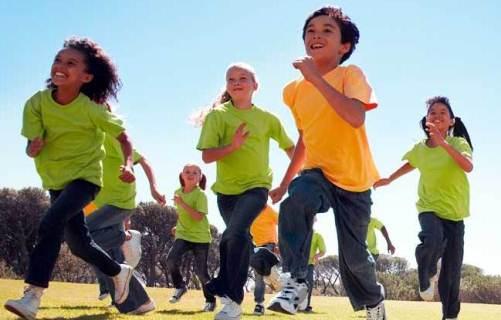 Children running outside