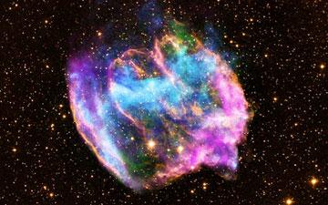 Supernova remnant W49B. (X-ray: NASA/CXC/MIT/L.Lopez et al; Infrared: Palomar; Radio: NSF/NRAO/VLA)