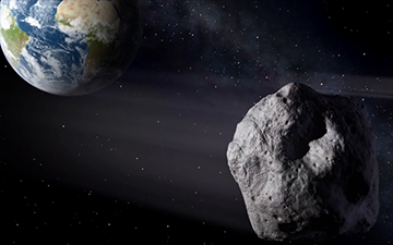 Artist concept of asteroid passing Earth.