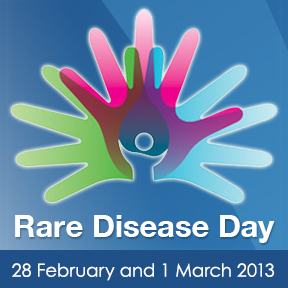 Graphic of hands showing Rare Disease Day 2013