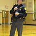 Speaker Corporal Kerber from the Huron County SheriffÕs Department speaks to 58 students at the NDFW assembly in Greenwich.