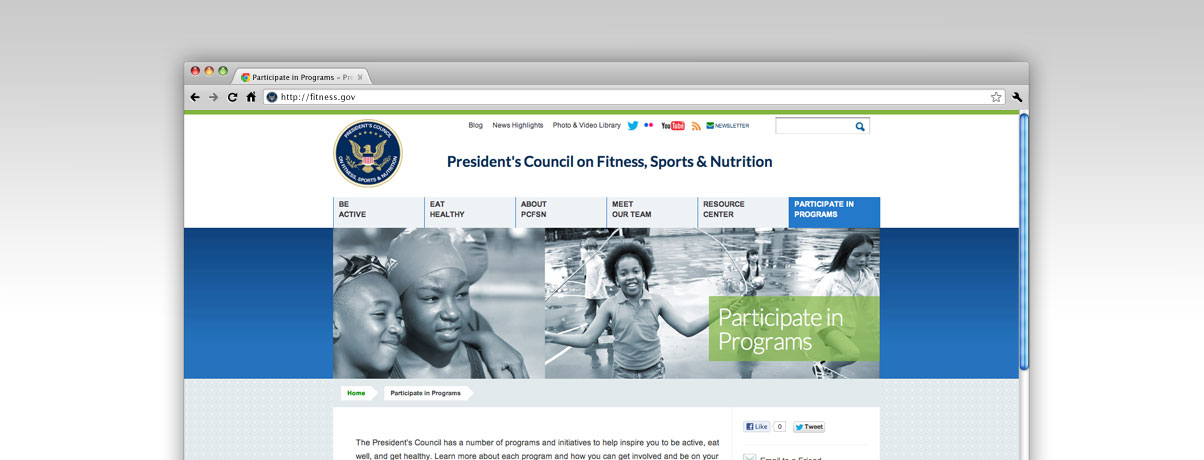 New Fitness.gov redesigned website screenshot of web page - Welcome!